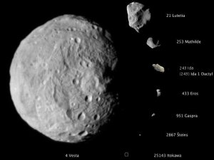 Muutamien asteroidien kokovertailu. Kuva: NASA