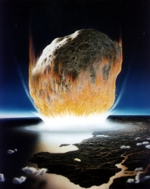 K/T extinction event theory. An artist's depiction of the asteroid impact 65 million years ago that many scientists say is the most direct cause of the dinosaurs' disappearance. Don Davis/NASA