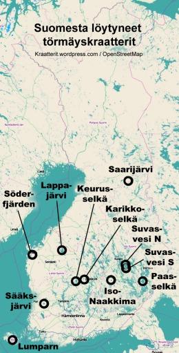 Suomesta löytyneet törmäyskraatterit kartalla