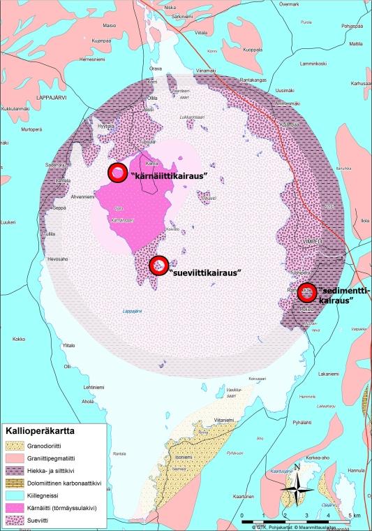Lappajärven kallioperä ja tärkeimmät kairauspaikat